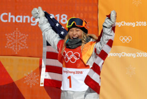 Snowboarder Chloe Kim of Team USA celebrates her gold medal win. Photo by Jorge Silva/Reuters