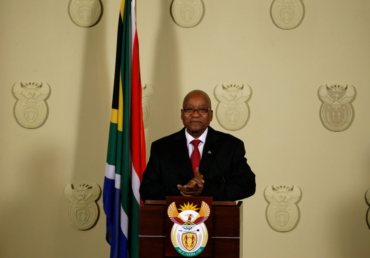 South Africa's President Jacob Zuma announces his resignation at the Union Buildings in Pretoria, South Africa. Photo by Siphiwe Sibeko/Reuters