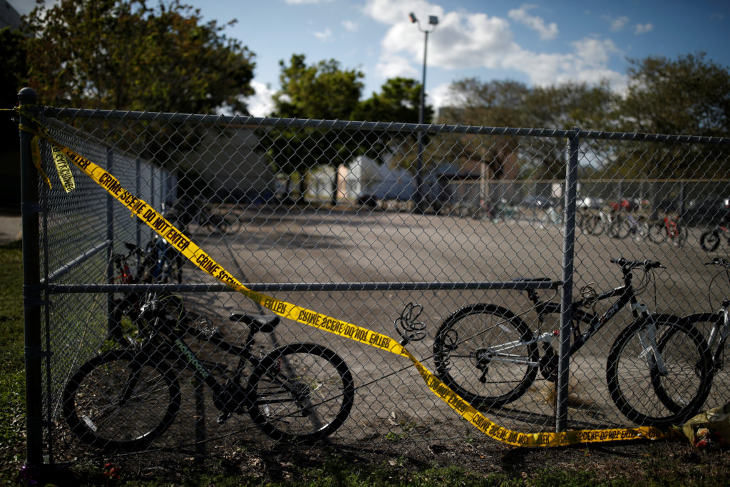 The bicycles that were left behind are seen at the Marjory Stoneman Douglas High School, after the police security perimet...