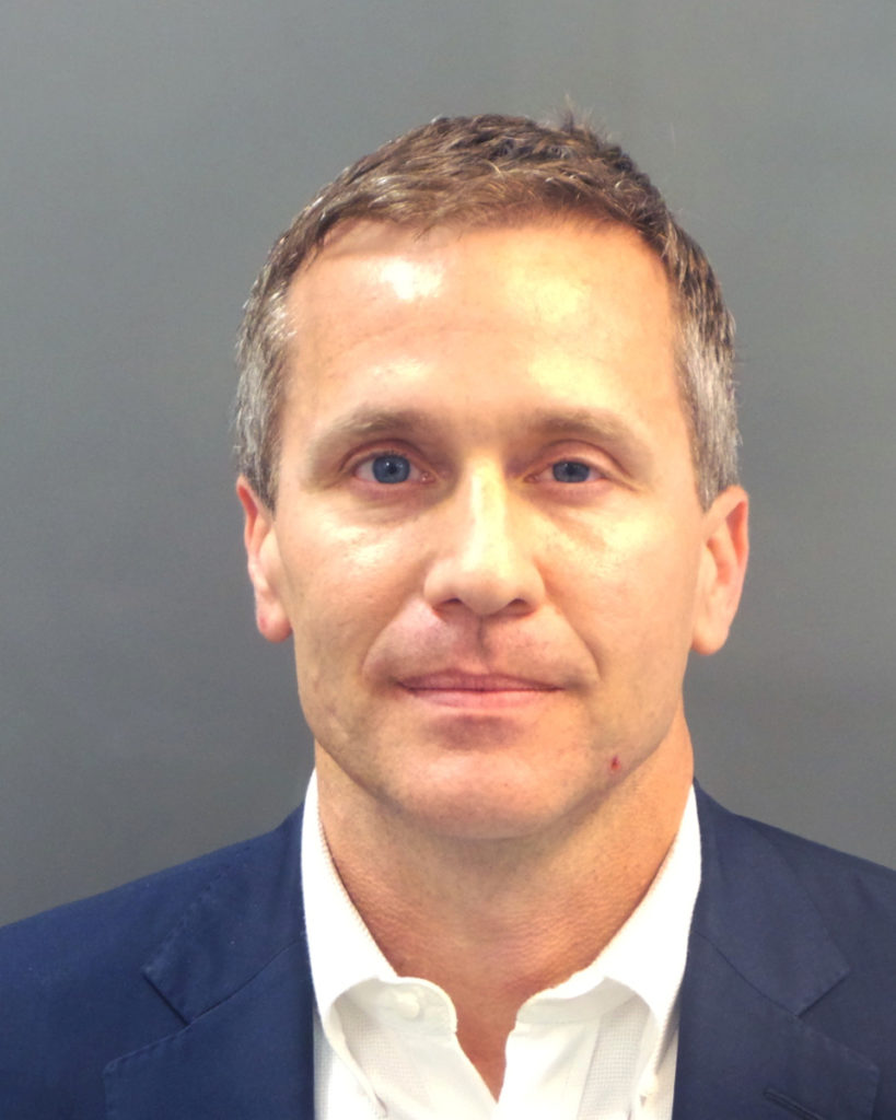 Missouri Governor Eric Greitens appears in a police booking photo in St. Louis, Missouri, U.S. February 22, 2018.  St. Louis Metropolitan Police Dept./Handout via REUTERS. ATTENTION EDITORS - THIS IMAGE WAS PROVIDED BY A THIRD PARTY - RC14A8F83150