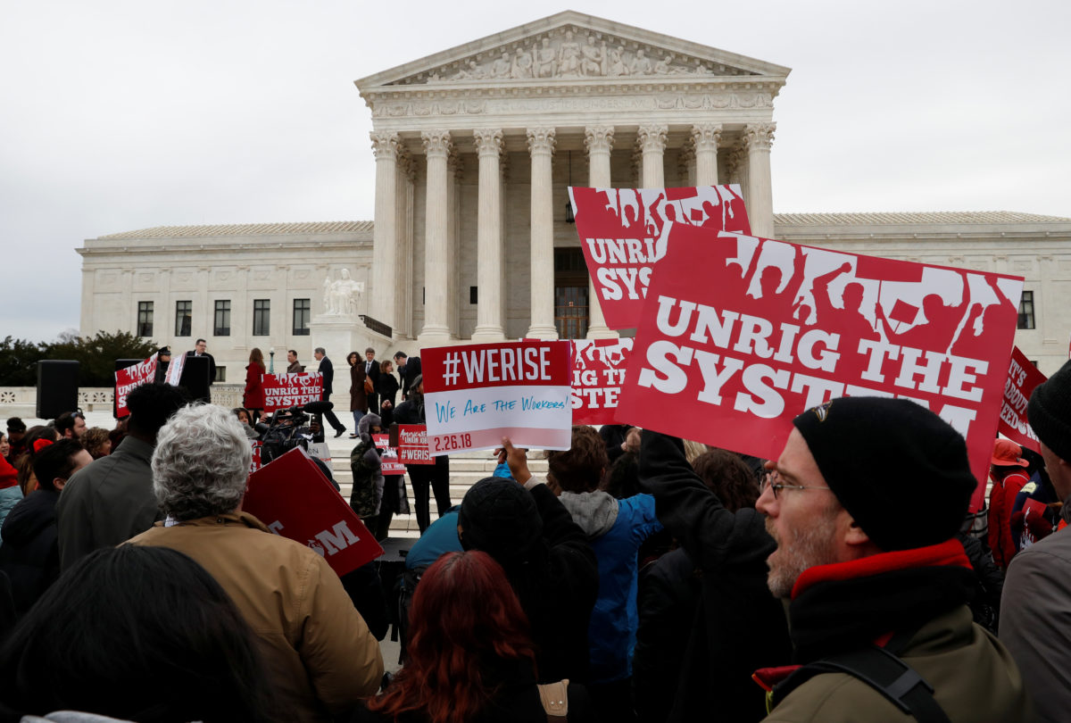 Union supporters rally outside of the United States Supreme Court in Washington on Feb. 26, 2018. Photo by REUTERS/Leah Millis