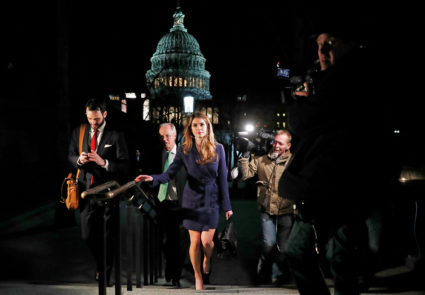 White House Communications Director Hope Hicks leaves after attending the House Intelligence Committee closed door meeting at the U.S. Capitol in Washington, U.S., February 27, 2018. Photo by Leah Millis/REUTERS