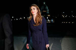 White House communications director Hope Hicks leaves the U.S. Capitol after attending the House Intelligence Committee closed door meeting in Washington, D.C., on Feb. 27. Photo by Leah Millis/Reuters