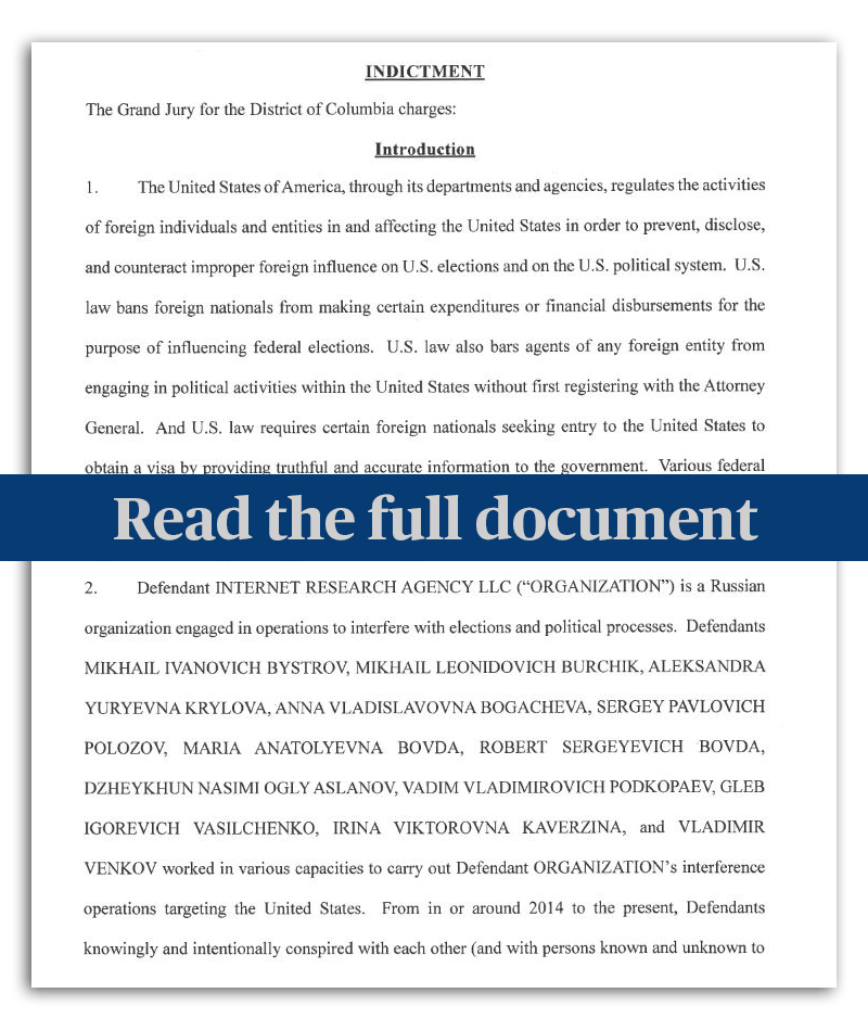 Read the full indictment of 13 Russian nationals for 2016