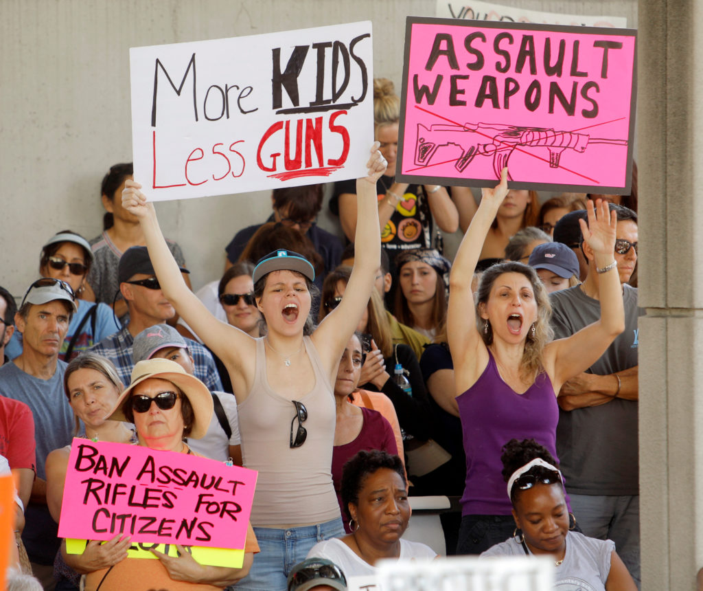 Protesters hold signs calling for more gun controls at a rally three days after the shooting at Marjory Stoneman Douglas H...
