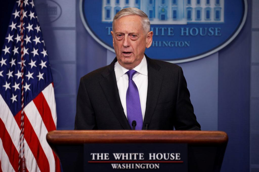 U.S. Defense SecretaryJames Mattis joins White House Press Secretary Sarah Huckabee Sanders for the daily press briefing ...