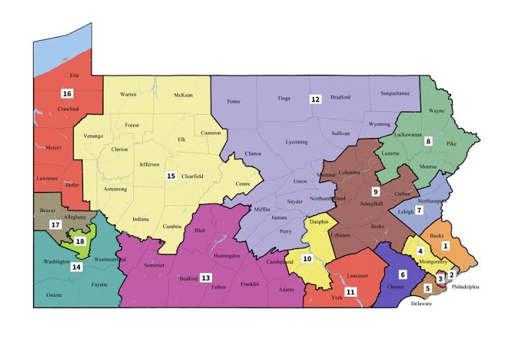This map shows the new Congressional districts for Pennsylvania, issued by the Supreme Court. Map issued by the Pennsylvania Supreme Court.