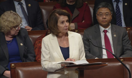 U.S. House Minority Leader Nancy Pelosi (D-CA) is shown reading from a bible during a marathon speech on the floor of the House of Representatives in this still grab taken from video on Capitol Hill in Washington, U.S., February 7, 2018. U.S. House TV/Handout via Reuters ATTENTION EDITORS - EDITORIAL USE ONLY. NOT FOR SALE FOR MARKETING OR ADVERTISING CAMPAIGNS - RC124F747EA0