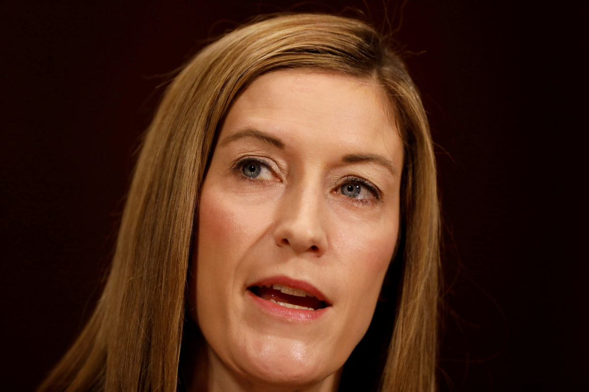 FILE PHOTO: Rachel Brand, nominee to be Associate Attorney General, testifies before the Senate Judiciary Committee on Capitol Hill in Washington March 7, 2017. REUTERS/Aaron P. Bernstein/Files - RC1C054C2500