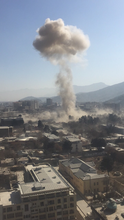 Smoke rises from an ambulance attack in the Afghan capital Kabul on Jan. 27. Photo courtesy of John Iliffe