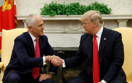 U.S. President Donald Trump meets with Australian Prime Minister Malcolm Turnbull at the White House in Washington, U.S., February 23, 2018. REUTERS/Kevin Lamarque - RC1D56F58D60
