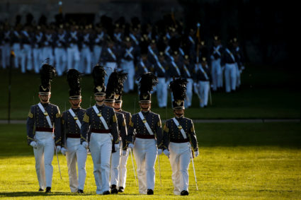 The Cadet Corp march during a ceremony to honor former U.S. President George W. Bush with the Sylvanus Thayer Award at the United States Military Academy in West Point, New York, U.S., October 19, 2017. REUTERS/Brendan McDermid - RC1B7897B670
