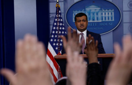White House Principal Deputy Press Secretary Raj Shah answers questions during the daily press briefing at the White House in Washington, U.S., February 8, 2018. REUTERS/ Leah Millis - RC178A28B9F0