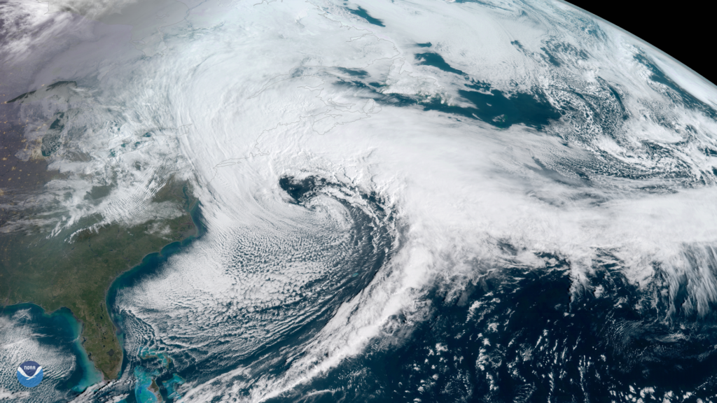 NOAA's GOES East satellite (GOES-16) captured the Nor'easter storm over the East Coast on March 13, 2018. The U.S. East Coast provides an ideal breeding ground for Nor'easters. During winter, the polar jet stream transports cold Arctic air southward across the plains of Canada and the United States, then eastward toward the Atlantic Ocean where warm air from the Gulf of Mexico and the Atlantic tries to move northward. This difference in temperature between the warm air over the water and cold Arctic air over the land is the fuel that feeds Nor'easters. Photo by NOAA National Environmental Satellite, Data, and Information Service (NESDIS)