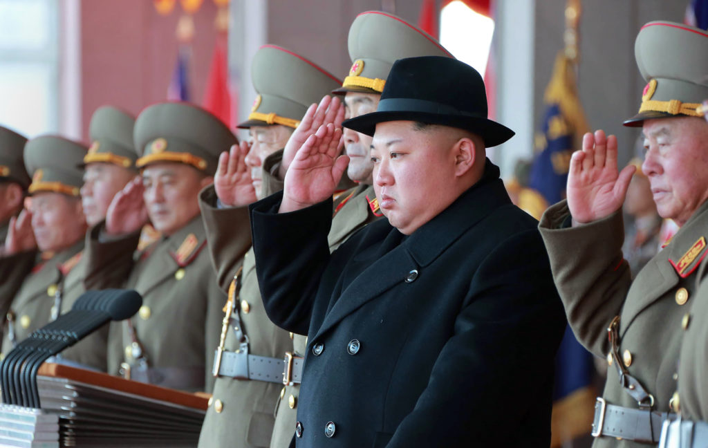 North Korean leader Kim Jong Un attends a military parade to mark t…