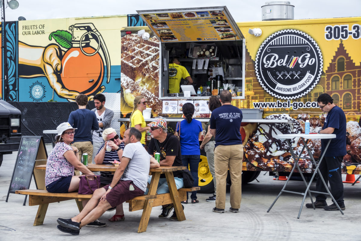 Florida, Miami, Wynwood Life Street Festival, Belgian Waffle Food Truck. (Photo by: Jeffrey Greenberg/UIG via Getty Images)