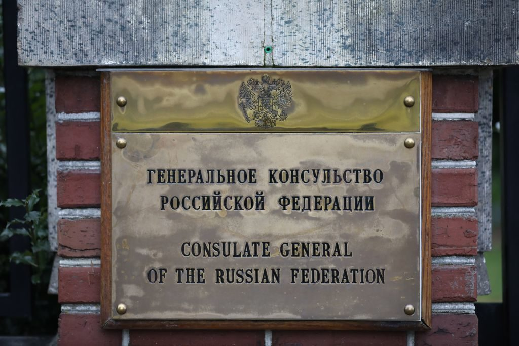 Sign of the Russian consulate in Seattle. File photo by Aaron Jacob/Anadolu Agency/Getty Images