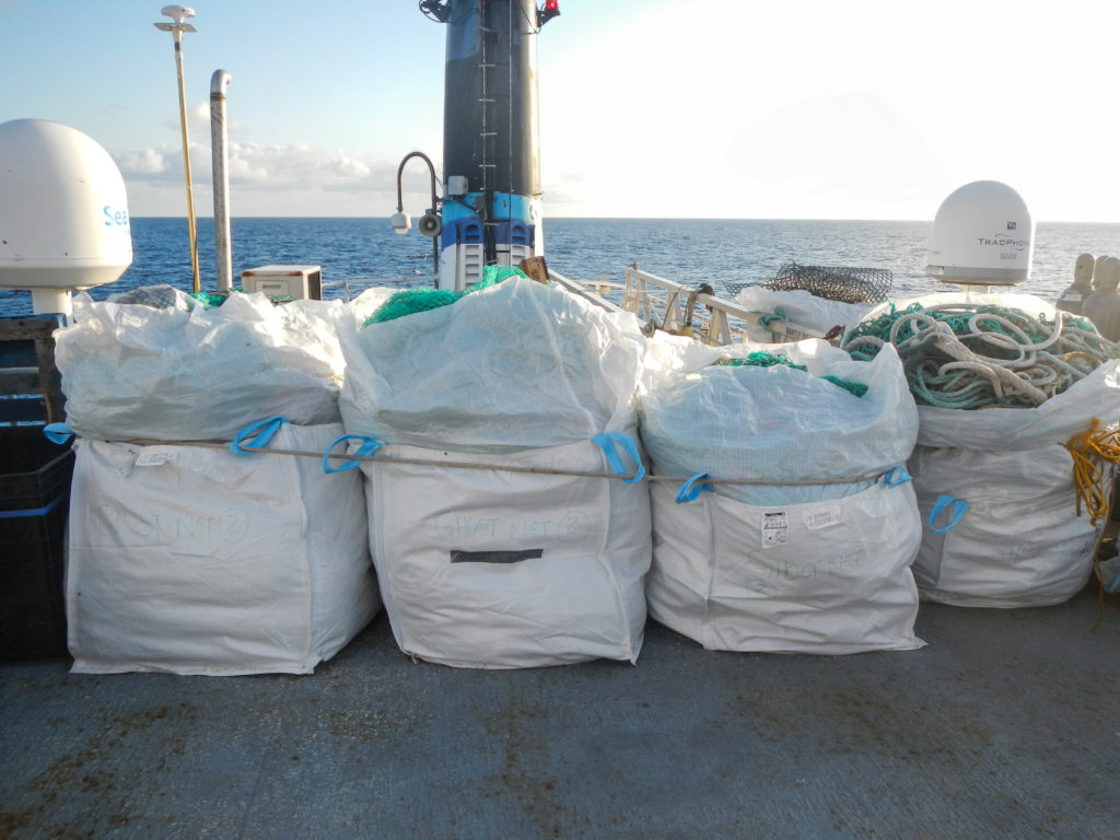 Large debris collected the deck of an expedition ship in 2015. Photo by The Ocean Cleanup