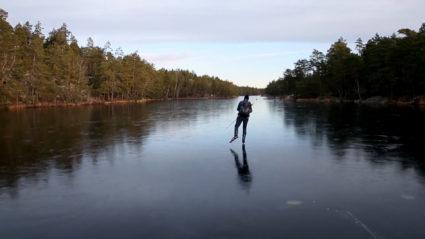 Mårten Anje skates on a lake outside Stockholm. Photo courtesy Henrik Trygg