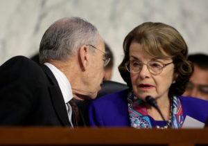 Senate Judiciary Committee Chairman Chuck Grassley (R-Iowa) speaks to Senator Dianne Feinstein (D-Calif.) as U.S. Attorney General Jeff Sessions (not pictured) testifies before a Senate Judiciary oversight hearing on the Justice Department on Capitol Hill in Washington, D.C. Photo by Joshua Roberts/Reuters