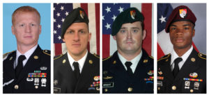 A combination photo of U.S. Army Special Forces Sergeant Jeremiah Johnson (L to R), U.S. Special Forces Sgt. Bryan Black, U.S. Special Forces Sgt. Dustin Wright and U.S. Special Forces Sgt. La David Johnson, all who were killed in Niger, West Africa, in October 2017. Photo courtesy of U.S. Army Special Operations Command/Handout via Reuters
