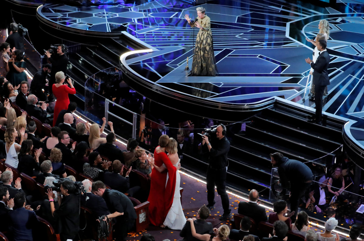 "90th Academy Awards - Oscars Show - Hollywood, California, U.S., 04/03/2018 - Frances McDormand asks women in the audience to stand as she accepts the Oscar for Best Actress for ""Three Billboards Outside Ebbing, Missouri."" REUTERS/Lucas Jackson"