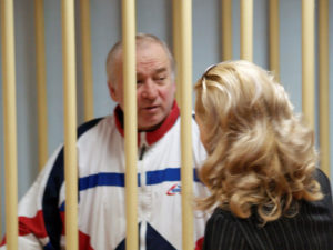 Sergei Skripal, a former colonel of Russia's GRU military intelligence service, looks on inside the defendants' cage as he attends a 2006 hearing at the Moscow military district court. File photo by Kommersant/Yuri Senatorov via Reuters