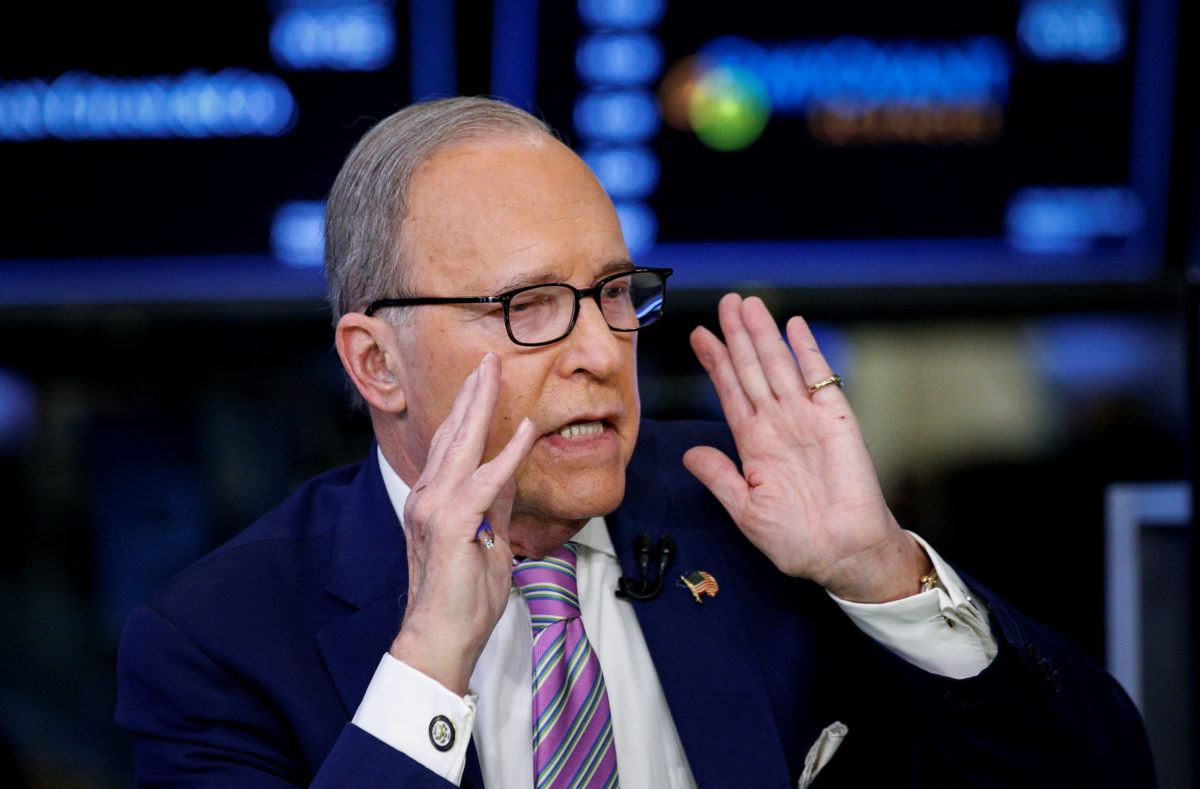 """Economic analyst Lawrence """"Larry"""" Kudlow appears on CNBC at the New York Stock Exchange, in New York, on March 7. Photo by Brendan McDermid/Reuters"""