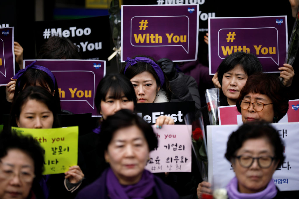 Women attend a protest as a part of the #MeToo movement on International Women's Day in Seoul, South Korea. Photo by Kim Hong-Ji/Reuters