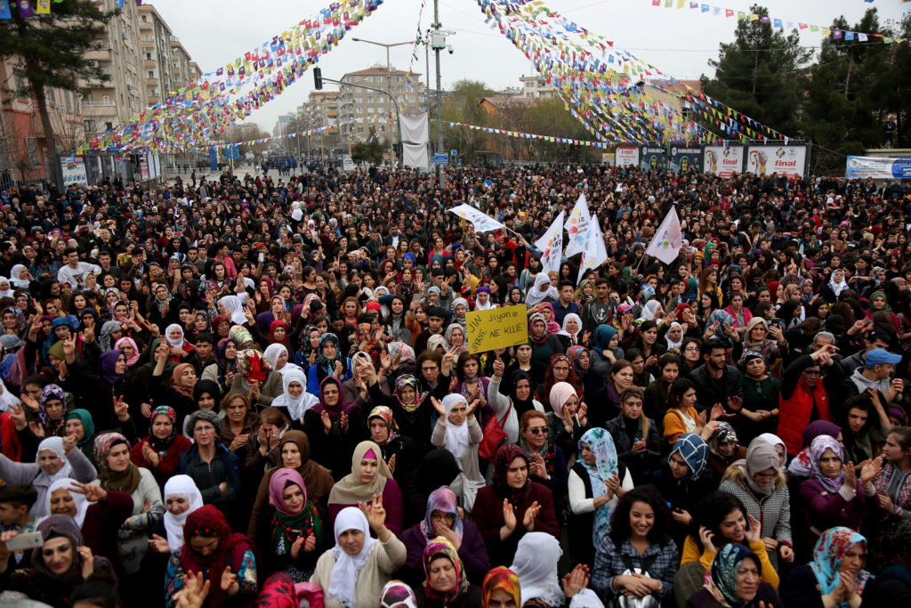 Women gather during a rally on the International Women's Day in Diyarbakir, Turkey. Photo by Sertac Kayar/Reuters