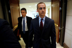 FILE PHOTO: Former Trump campaign manager Corey Lewandowski arrives to meet with the House Intelligence Committee, about their ongoing probe of alleged Russian interference in the 2016 U.S. election, at the U.S. Capitol in Washington, U.S., January 17, 2018. REUTERS/Jonathan Ernst/Files - RC11EC2B05D0