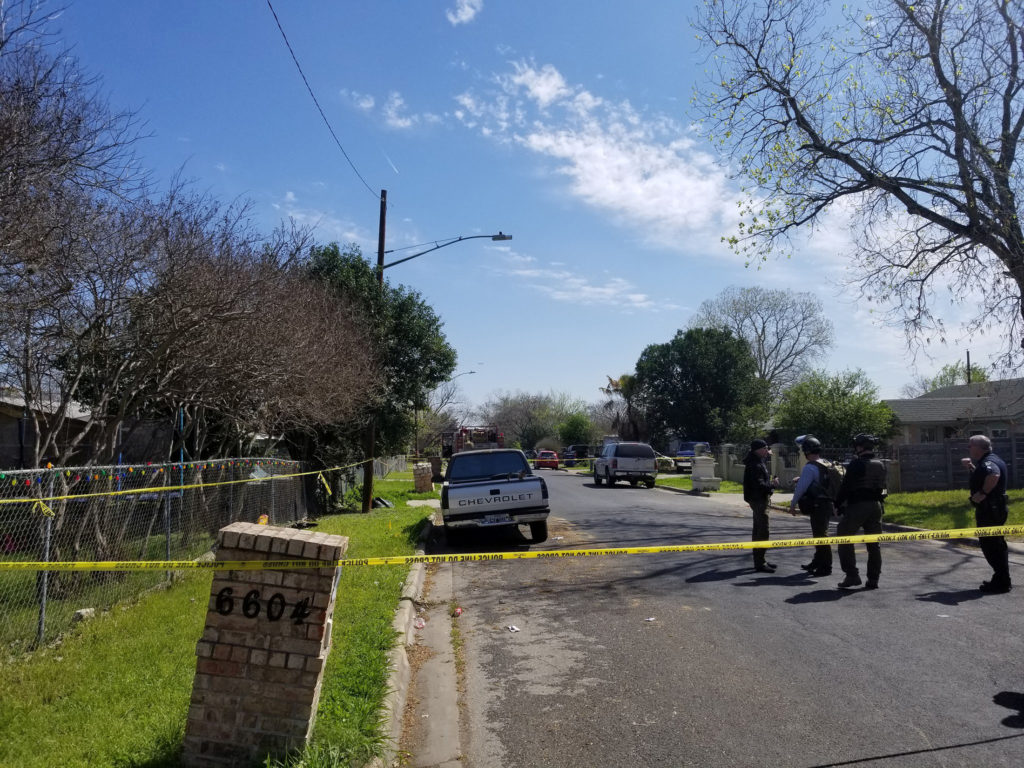 Austin Fire Department personnel attend the scene of a package explosion in the 6700 block of Galindo Street in east Austi...