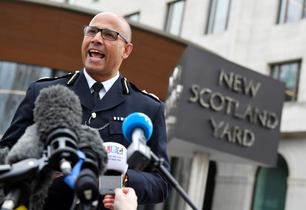 Neil Basu, the Metropolitan Police's Assistant Commissioner for Counter Terrorism, gives a briefing on the poisoning of the former Russian intelligence officer Sergei Skripal and his daughter Yulia in Salisbury, outside New Scotland Yard in London. Photo by Toby Melville/Reuters