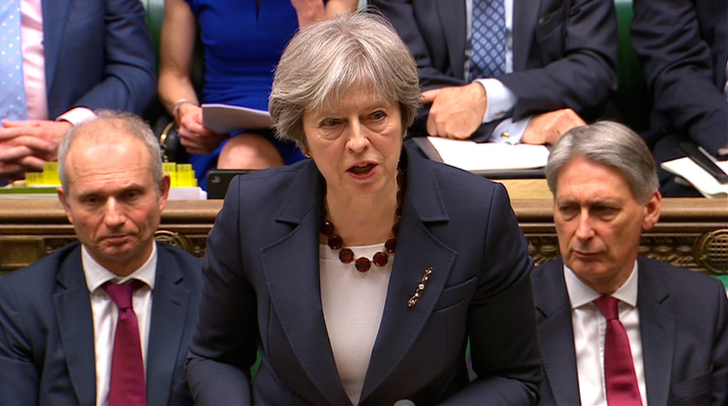 Britain's Prime Minister Theresa May addresses the House of Commons on the poisoning of former Russian intelligence officer Sergei Skripal and his daughter Yulia on March 14. Parliament TV handout via Reuters