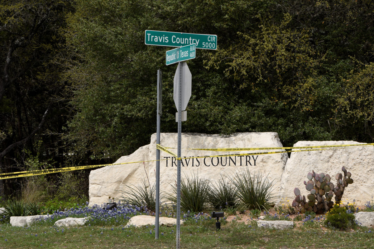 Police lines are seen blocking off part of Republic of Texas Boulevard following an explosion in Austin, Texas, on March 19, 2018. Photo by Sergio Flores/Reuters