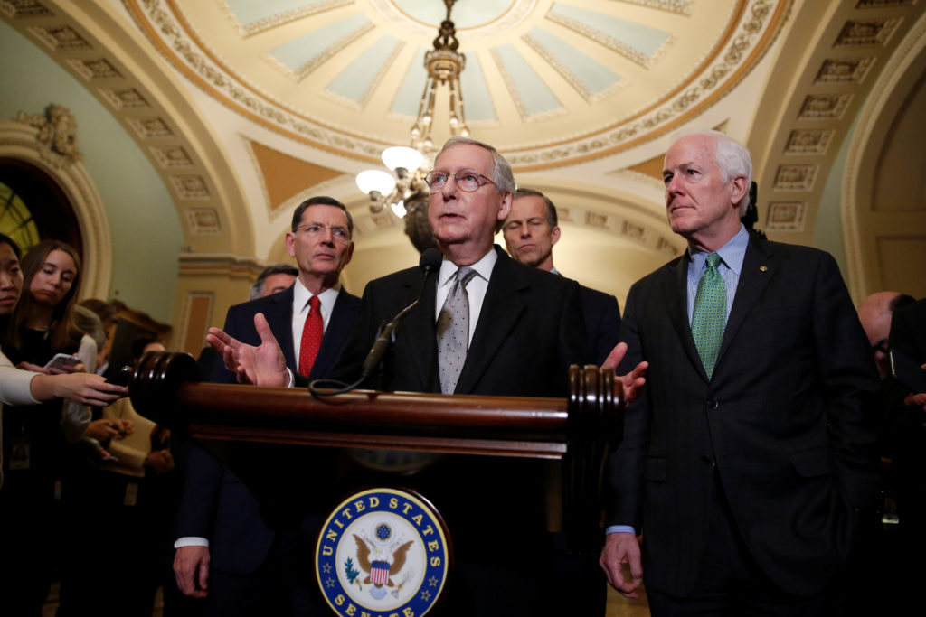 Senate Majority Leader Mitch McConnell (R-KY) speaks after the Republican policy luncheon on Capitol Hill in Washington, U.S., March 20, 2018. REUTERS/Joshua Roberts - RC1165A2A330