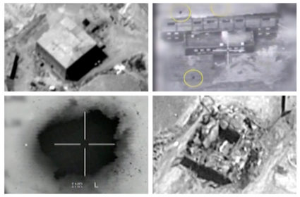 A combination image shows screen grabs taken from video material released on March 21, 2018 which the Israeli military describes as an Israeli air strike on a suspected Syrian nuclear reactor site near Deir al-Zor on Sept. 6, 2007. Top row: The site before the attack (L), yellow circles depicting bombs during the air strike on the site (R). Bottom row: An explosion during the air strike on the site (L), debris seen on the site after the attack (R). Photo by IDF/Handout via Reuters