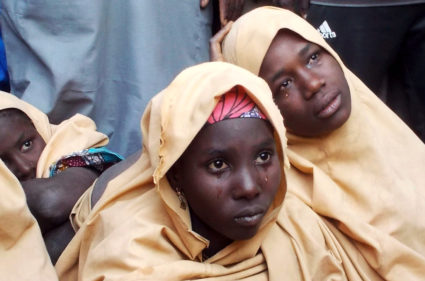 Some of the Nigerian schoolgirls released this week arrived in Jumbam village in Yobe State on March 21. Photo by Ola Lanre/Reuters