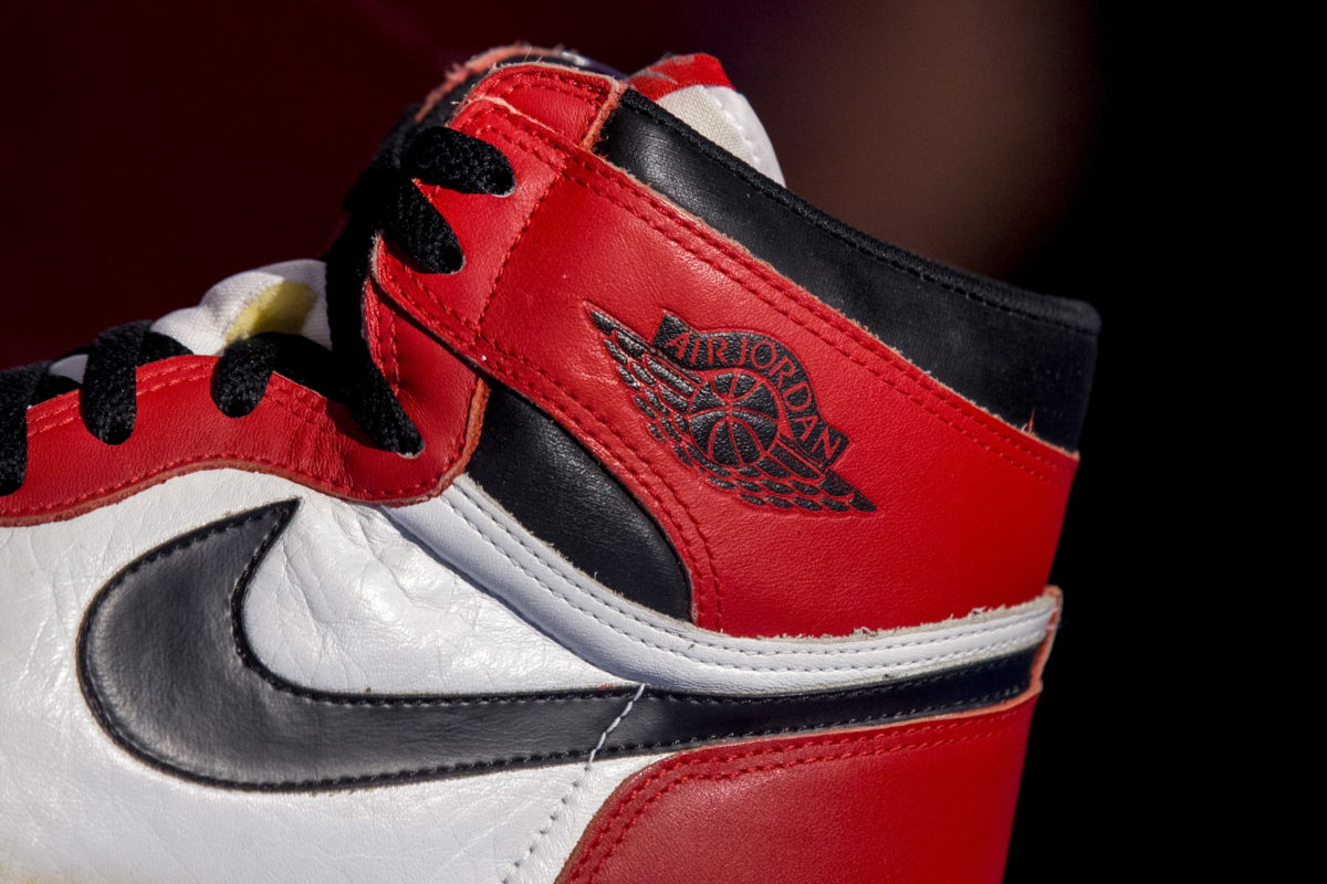 The famous Nike swoosh and Air Jordan logo is seen on an Air Jordan 1,