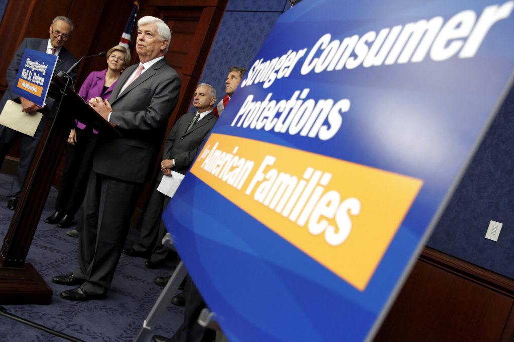 Former Sen. Chris Dodd (D-Conn.) speaks at a news conference marking the fifth anniversary of the passing of the Dodd-Frank Wall Street reform law in Washington, D.C. Photo by Jonathan Ernst/Reuters