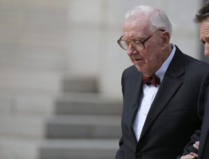 Retired U.S. Supreme Court Justice John Paul Stevens departs the funeral of U.S. Supreme Court Associate Justice Antonin Scalia at the Basilica of the National Shrine of the Immaculate Conception in Washington, on Feb. 20, 2016. File photo by Carlos Barria/Reuters