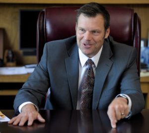 Kansas Secretary of State Kris Kobach talks about the Kansas voter ID law that he pushed to combat what he believes to be rampant voter fraud in the United States in his Topeka, Kansas, U.S., office May 12, 2016. Photo By Dave Kaup/Reuters