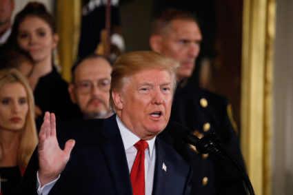 President Donald Trump speaks about administration plans to combat the nation's opioid crisis in the East Room of the White House in Washington, D.C. Photo by Carlos Barria/Reuters