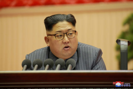 North Korean leader Kim Jong Un speaks at the 5th Conference of Cell Chairpersons of the Workers' Party of Korea (WPK) on Dec. 23. Photo by North Korea's Korean Central News Agency via Reuters