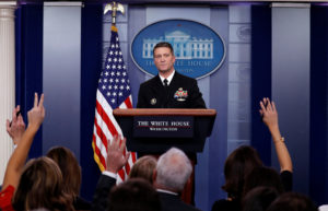 White House, Presidential physician Ronny Jackson answers question about U.S. President Donald Trump's health after the president's annual physical during the daily briefing at the White House in Washington, DC, U.S., January 16, 2018. REUTERS/Carlos Barria - RC1C94235120