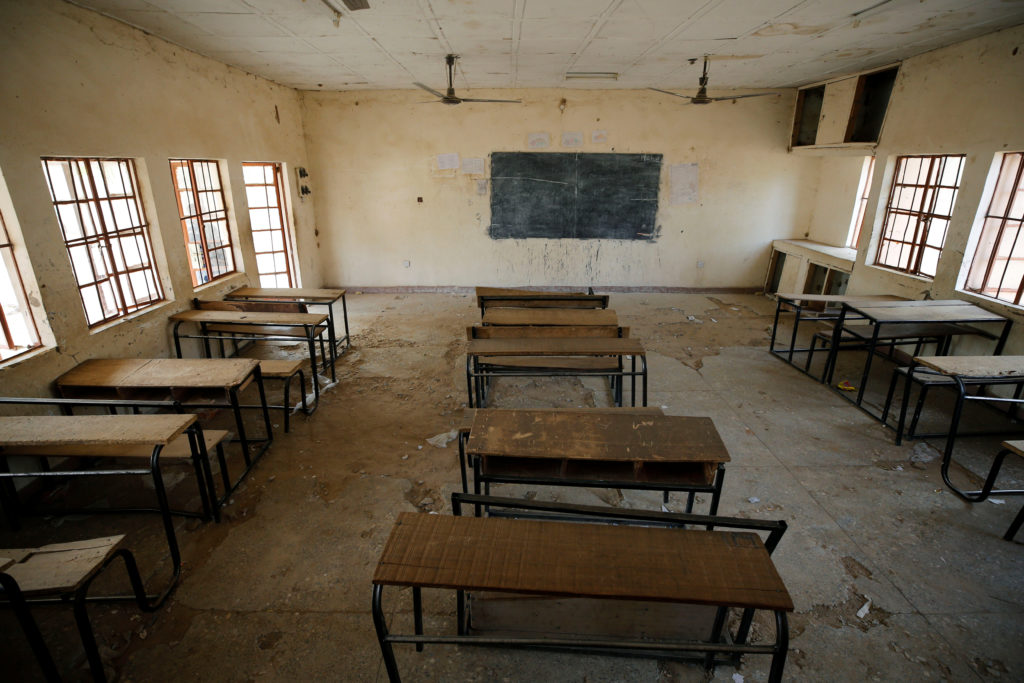 A view shows an empty classroom at the school in Dapchi in the northeastern state of Yobe, where dozens of school girls we...