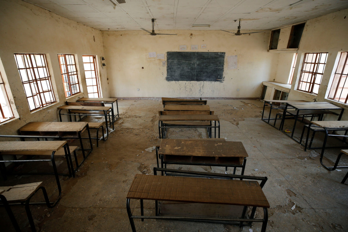 A view shows an empty classroom at the school in Dapchi in the northeastern state of Yobe, where dozens of school girls went missing after an attack on the village by Boko Haram, Nigeria in February. Photo by Afolabi Sotunde/Reuters
