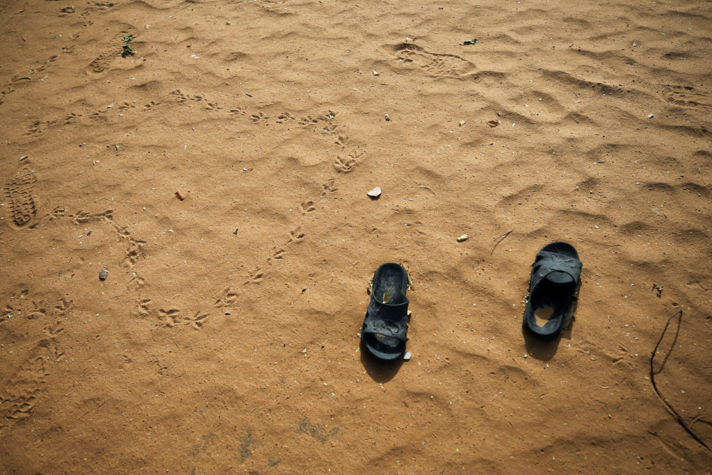 Slippers are pictured at the school compound in Dapchi in the northeastern state of Yobe, where dozens of school girls went missing after an attack on the village by Boko Haram, Nigeria in February. Photo by Afolabi Sotunde/Reuters