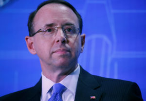 Deputy Attorney General Rod Rosenstein takes part in the Financial Services Roundtable spring conference at The Wharf Intercontinental Hotel in Washington, D.C. Photo by Leah Millis/Reuters