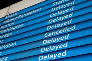 The information board shows cancelled and delayed Amtrak trains at Pennsylvania (Penn) Station during a winter nor'easter in New York City. Photo by Andrew Kelly/Reuters